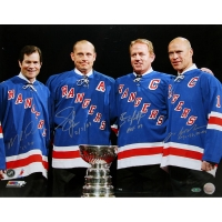 New York Rangers 16x20 Photo Team-Signed by (4) with Mike Richter, Adam Graves, Brian Leetch & Mark Messier (Steiner COA)