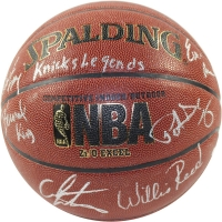 Knicks NBA Basketball Team-Signed by (6) with Bernard King, Patrick Ewing, Carmelo Anthony, Willis Reed, Walt Frazier & Earl Monroe (Steiner COA)