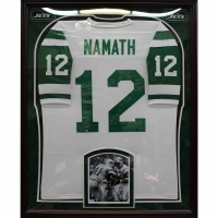 1969 Jets Custom Framed Joe Namath Jersey Team-Signed by (24) with Joe Namath, Emerson Boozer, Don Maynard (Steiner COA) at PristineAuction.com