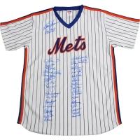 1986 New York Mets Jersey Team-Signed by (35) with Bud Harrelson, Davey Johnson, Ray Knight, Mel Stottlemyre, Mookie Wilson (PSA COA)
