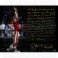 "Joe Montana Signed 49ers ""The Drive"" 16x20 Photo with Handwritten Story Inscription (Steiner COA)"