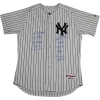 New York Yankees LE Dynasty Pinstripe Jersey Team-Signed by (11) with Joe Torre, Derek Jeter, Bernie Williams, Tino Martinez, Paul O'Neill, Luis Sojo, Ramiro Mendoza, Jeff Nelson, David Cone, Andy Pettitte, and Mariano Rivera (Steiner COA) at PristineAuction.com