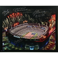 Super Bowl MVP Metlife Stadium 20x24 Canvas Signed by (4) with Tom Brady, Terry Bradshaw, Joe Montana, & Eli Manning (Steiner COA)