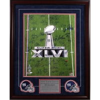 New York Giants Super Bowl XLVI 16x20 Custom Framed Lithograph Team-Signed by (35) with Eli Manning, Victor Cruz, Jason Pierre-Paul (Steiner COA)