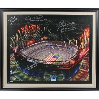 Tom Brady, Terry Bradshaw, Joe Montana & Eli Manning Signed L/E Metlife Stadium Canvas with Multiple Inscriptions (Steiner COA)