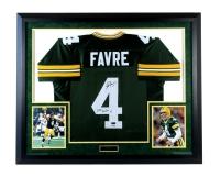 "Brett Favre Signed LE Packers 37x44 Custom Framed Jersey Inscribed ""Last To Wear 4"" (Favre Hologram & COA)"