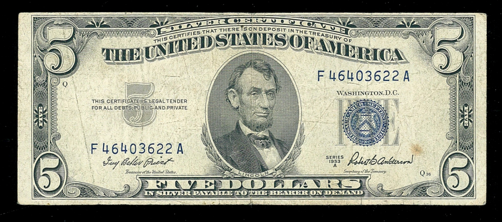 dollar seal 1953 five note certificate pristineauction enlarge