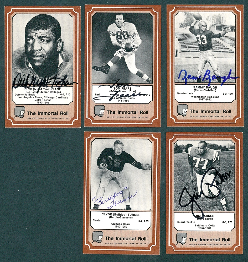 7b3def31f1b Lot of (5) Signed 1975 Fleer Hall of Fame Football Cards with #45