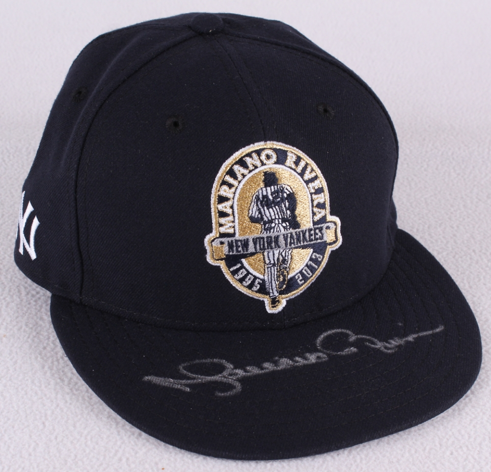 4b312b20 Mariano Rivera Signed Yankees Fitted Wool Hat with Retirement Logo Patch ( Steiner COA & MLB