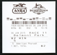 Belmont Stakes American Pharoah $2 Win Ticket