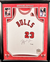 Michael Jordan Signed LE 36x44 Custom Framed 1984-85 Bulls Jersey with Rookie of the Year Patch (UDA COA)