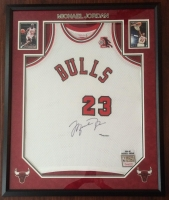 Michael Jordan Signed LE 36x44 Custom Framed 1984-85 Bulls Jersey with Rookie of the Year Patch (UDA COA) at PristineAuction.com