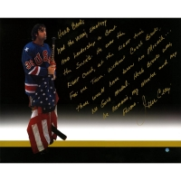 Jim Craig Signed Team USA 16x20 Photo with Handwritten Story Inscription (Steiner COA)
