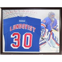 Henrik Lundqvist Signed 32x40 Custom Framed Rangers Jersey Display with Canvas Background (Steiner COA)