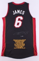 "LeBron James Signed LE Heat ""10th NBA Anniversary"" Authentic Adidas On-Court Career Highlight Stat Jersey (UDA COA)"