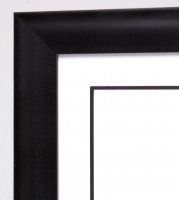 "Custom Frame for 16x20 Photo - Black Wide Frame with White Double Matting (Overall Dimensions 24.5"" x 28.5"") at PristineAuction.com"