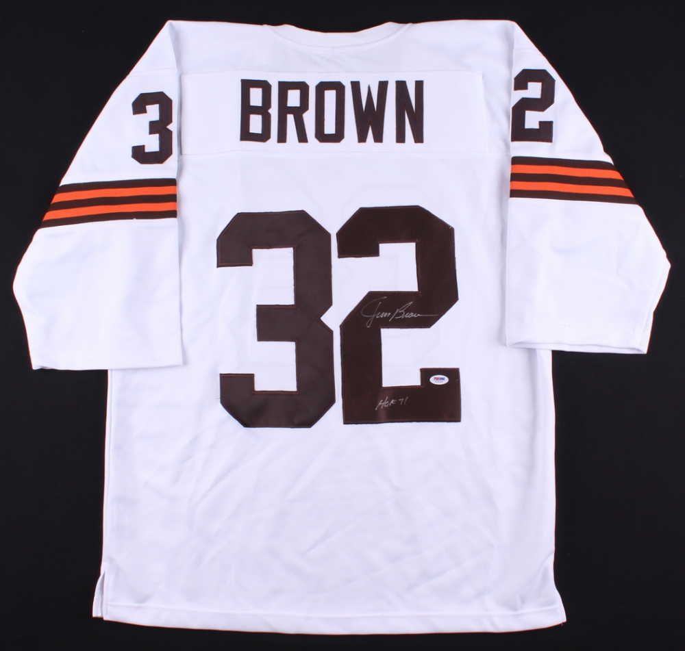 "Jim Brown Signed Browns Jersey Inscribed ""HOF 71"" (PSA COA ..."