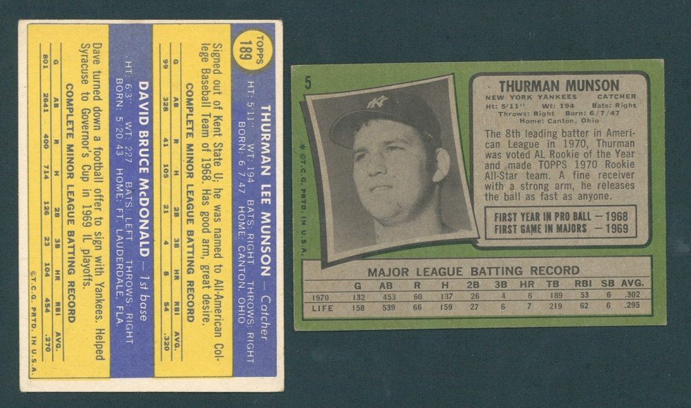 57d4c81209a Lot of (2) Topps Baseball Cards with 1971 Topps  5 Thurman Munson
