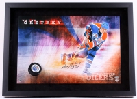 "Wayne Gretzky Signed Oilers ""Slap Shot"" 22x30 Custom Framed Photo Display with Hockey Puck Breakthrough (UDA COA)"