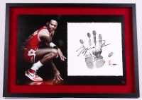 Michael Jordan Signed LE Bulls 21x30 Custom Framed Tegata Handprint Display (UDA COA) at PristineAuction.com