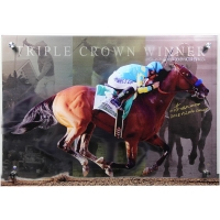 "Victor Espinoza Signed Triple Crown LE 28x20 3D Diebond Art Photo Inscribed ""2015 Triple Crown""  (Steiner COA)"