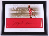 Michael Jordan Signed Bulls 28x35 Custom Framed Authentic Game-Used Floor Piece Limited Edition #23/23 (UDA COA) at PristineAuction.com