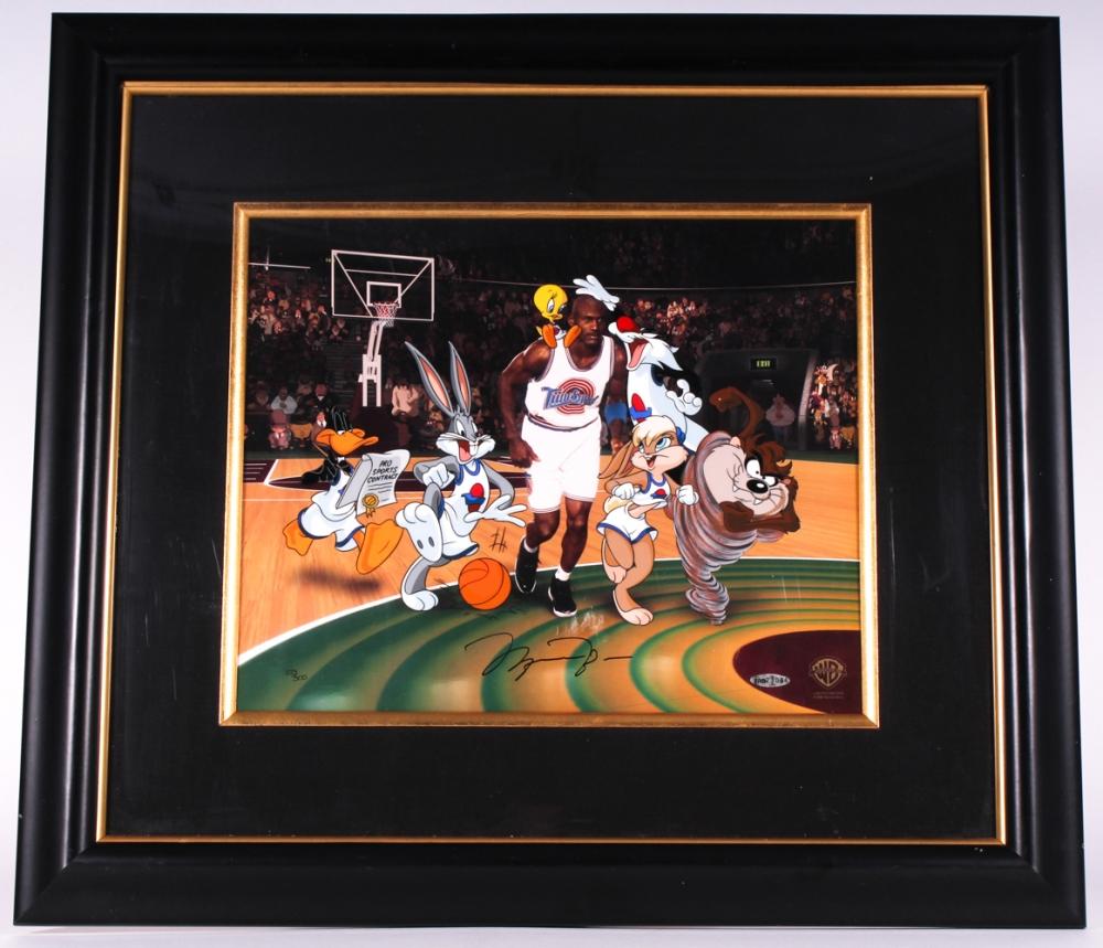 """Michael Jordan Signed LE """"Space Jam"""" 24x27 Custom Framed"""