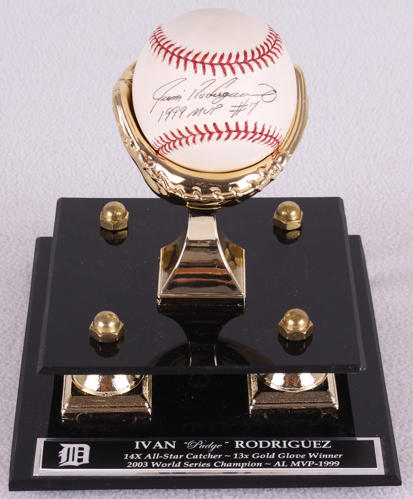Ivan Rodriguez Signed OML Baseball Inscribed 1999 MVP With Gold Glove Stand Display Case
