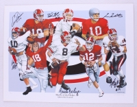 """Heroes of the Hedges: Quarterback Legends"" Georgia 18x24 LE Lithograph Signed by (8) with David Greene, John Rauch, Fran Tarkenton, Eric Zeier, Mike Bobo (Radtke Hologram)"