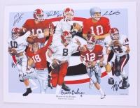 """Heroes of the Hedges: Quarterback Legends"" Georgia 18x24 LE Lithograph Signed by (8) with David Greene, John Rauch, Fran Tarkenton, Eric Zeier, Mike Bobo (Radtke Hologram)"