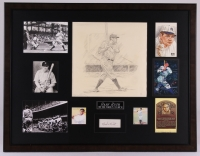 Babe Ruth Signed Yankees 23x30 Custom Framed Display with Limited Edition #1/1 Hand-Drawn Sketch Signed by Artist Dick Perez (PSA Encapsulated & PA LOA)