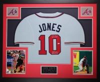 """Chipper Jones Signed Braves 35x43 Custom Framed Jersey Inscribed """"95 WS Champs!"""", """"99 NL MVP!"""" & """"Brave for Life"""" (MLB)"""