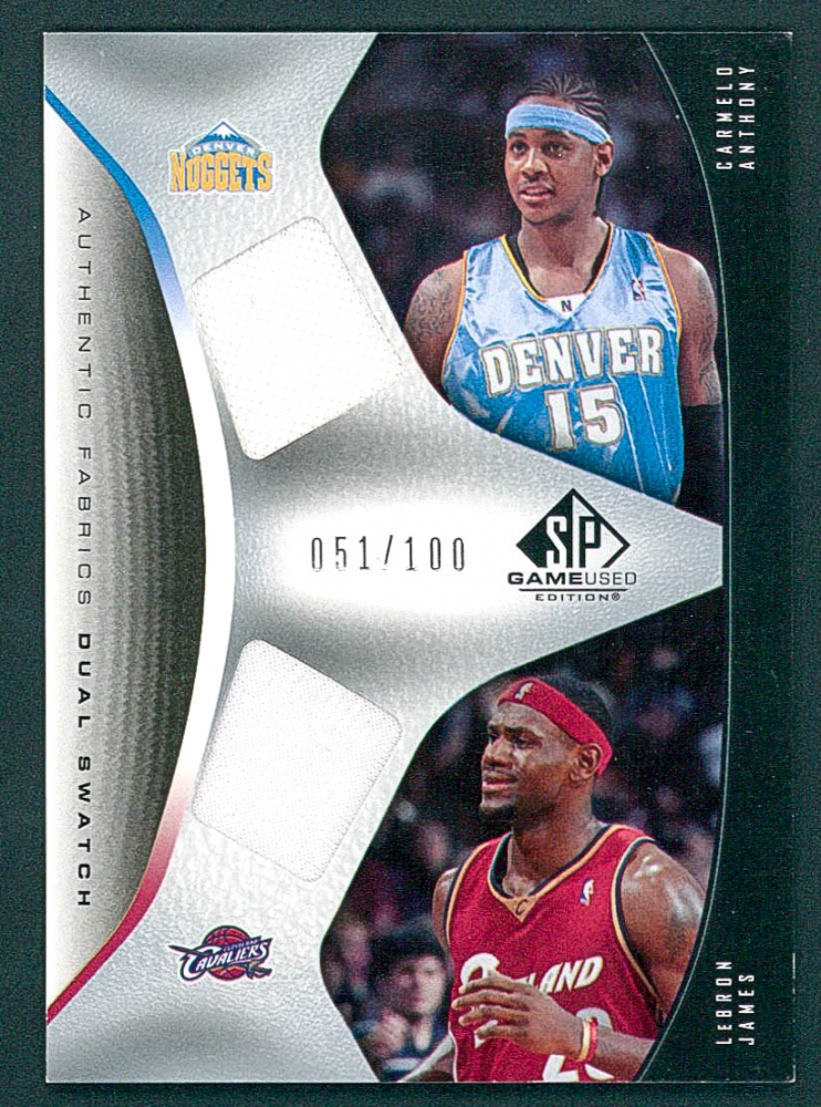 25765eaef9e9d 2006-07 SP Game Used Authentic Fabrics Dual  CL LeBron James   Carmelo  Anthony