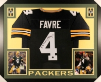 """Brett Favre Signed Packers 35x43 Custom Framed Jersey Inscribed """"'95, '96, '97 MVP"""" (Favre COA)"""