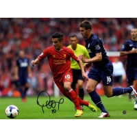 Philippe Coutinho Signed Liverpool vs Manchester United 12x16 Photo (Icons COA)