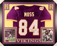 "Randy Moss Signed Vikings 35"" x 43"" Custom Framed Jersey (JSA COA)"