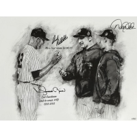 Derek Jeter, Mariano Rivera & Andy Pettitte Signed Yankees LE 26x36 Hintz Studios Fine Art Lithograph Print with Inscriptions (Steiner COA)