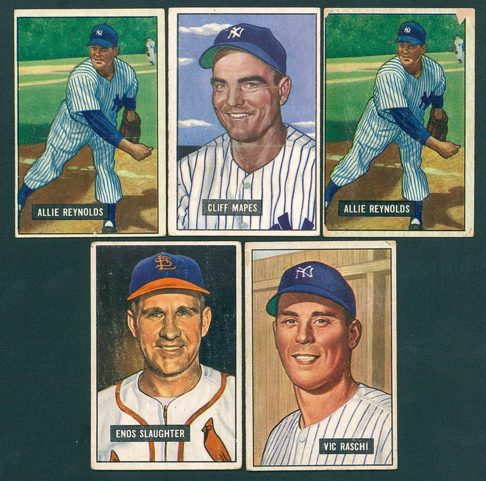 Lot Of 5 1951 Bowman Cards With 25 Vic Raschi