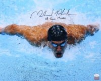 "Michael Phelps Signed 16x20 Photo Inscribed ""18 Gold Medals"" (JSA COA & Michael Phelps Hologram)"