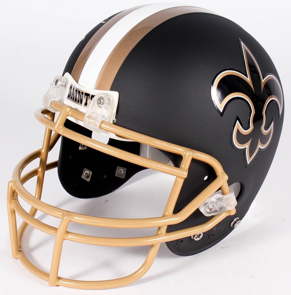 ef93808c4 Drew Brees Signed Saints Custom Matte Black Full-Size Authentic Pro-Line  Helmet (