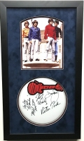 """Multi-Signed The Monkees 16x28 Custom Framed Drumhead Display Signed by (4) With Davy Jones, Michael Nesmith, Micky Dolenz & Peter Tork Inscribed """"Hey Hey We're The Monkees"""" (JSA LOA)"""