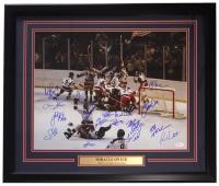 "1980 Team USA Hockey ""Miracle on Ice"" 22x27 Custom Framed Photo Display with (17) Signatures Including Jim Craig, Mike Eruzione, Mike Ramsey (JSA COA)"