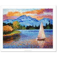 "Alexander Antanenka Signed ""Mountain Lake Sailing"" LE 30x24 Hand Embellished Giclee on Canvas"