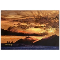 """Howard Behrens Signed """"Sunset Over Capri"""" Limited Edition 16x24 Hand Embellished Giclee on Canvas at PristineAuction.com"""
