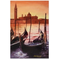 """Howard Behrens Signed """"Sunset on the Grand Canal 4"""" Limited Edition 16x24 Hand Embellished Giclee on Canvas at PristineAuction.com"""