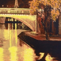 """Howard Behrens Signed """"Twilight on the Seine, I"""" Limited Edition 17x27 Hand-Embellished Giclee on Canvas #/295 at PristineAuction.com"""