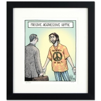 "Dan Piraro Signed Bizarro! ""Passive Agressive Hippie"" Custom Framed 17x19 LE Giclee on Paper"