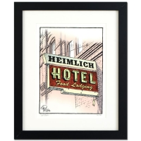 "Dan Piraro Signed Bizarro! ""Heimlich Hotel"" Framed Limited Edition 16x20 Giclee on Paper"