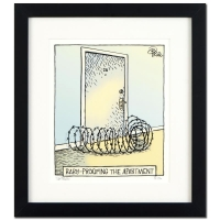 "Dan Piraro Signed Bizarro! ""Baby Proof"" Custom Framed 17x19 LE Giclee on Paper"