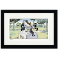 "Dan Piraro Signed Bizarro! ""Pigeon Statue"" LE 22x15 Custom Framed Giclee on Paper"